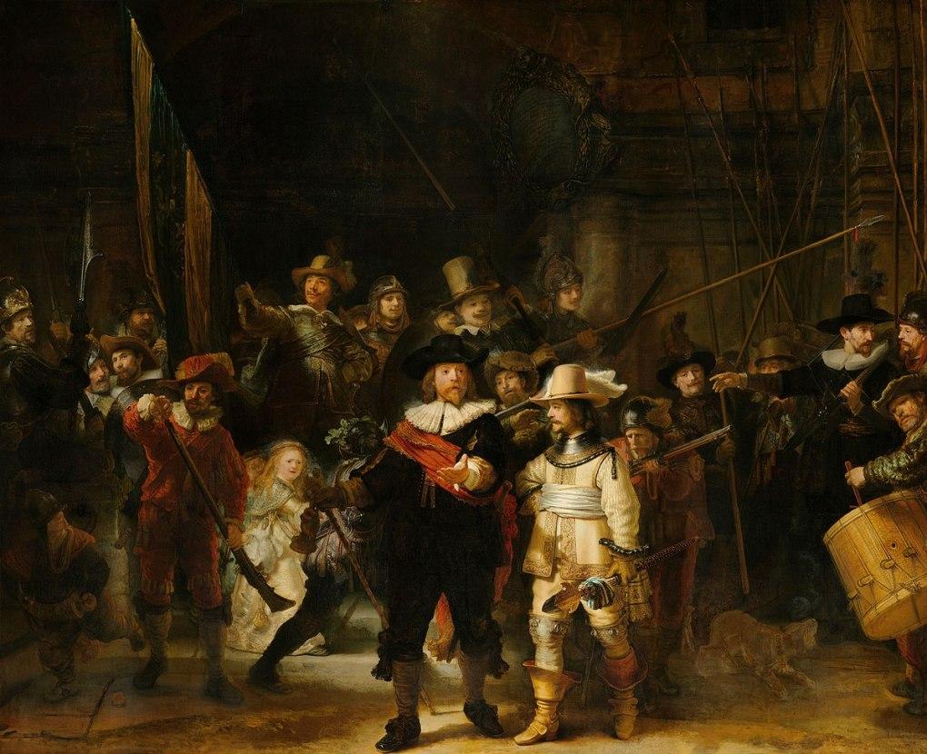 Schilderij de Nachtwacht van Rembrandt, een voorbeeld van nacht en donker in een preek over de kerstnacht