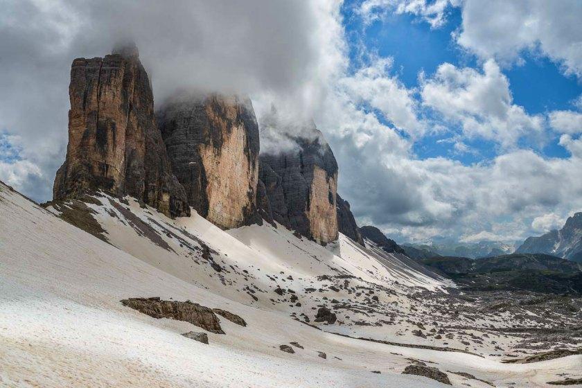 Drei Zinnen in Sexten, die wahrscheinlich bekanntesten Gipfel der Dolomiten