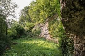 Blick aus der Höhle auf die Felswand