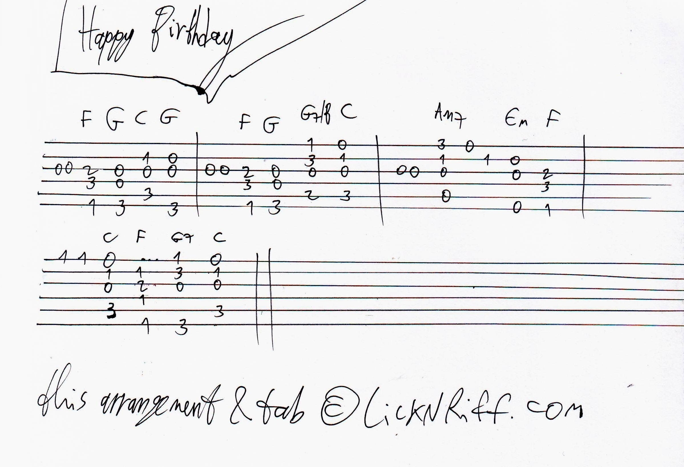 Happy Birthday Extreme Fingerstyle Version Lickn Riff Create Your Own Guitar Legacy