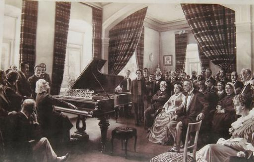 1Franz Liszt playing on his Bechstein concert grand piano at his appartment in Weimar