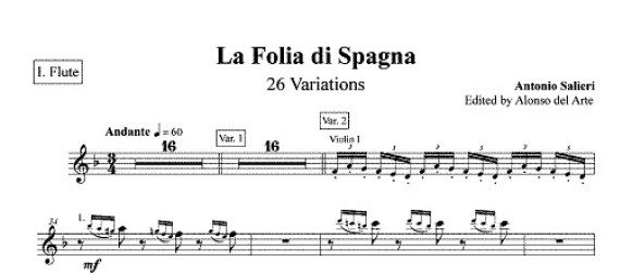 """La """"Folia di Spagna"""": Antonio Salieri e le sue 26 Variazioni per orchestra."""