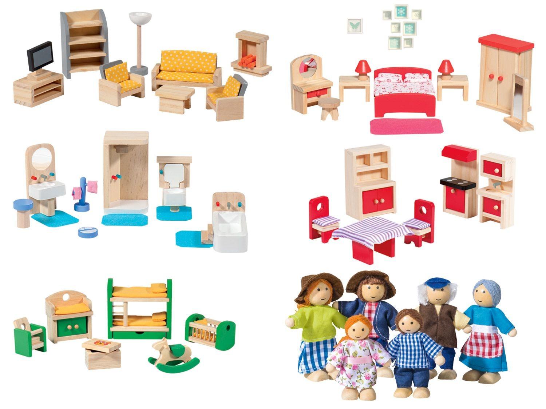 meubles miniatures ou set de poupees en bois