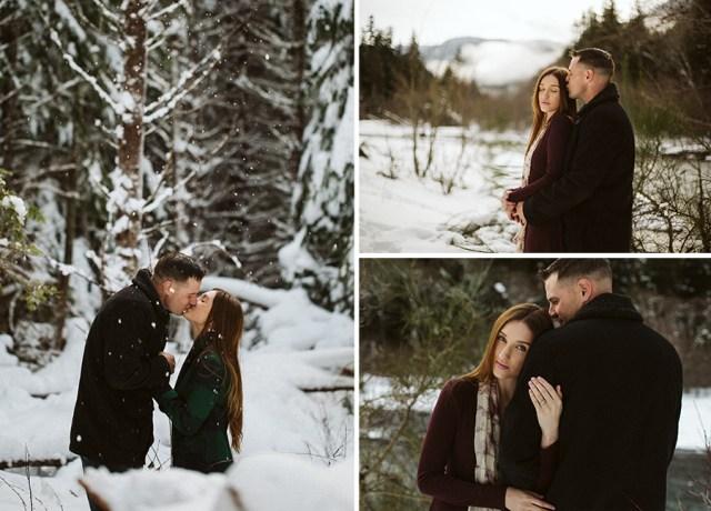 Three pictures of man and fiance in snowy forest