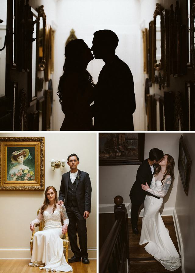 Three pictures of the bride and groom taking portraits around Thornewood Castle