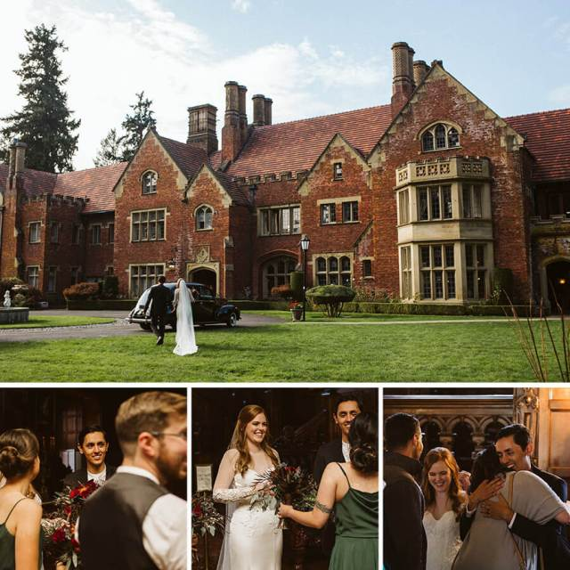 Collage of four pictures of the bridal party celebrating after the ceremony at Thornewood Castle.