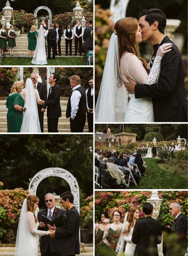 Collage of pictures from the wedding ceremony in the garden at Thornewood Castle
