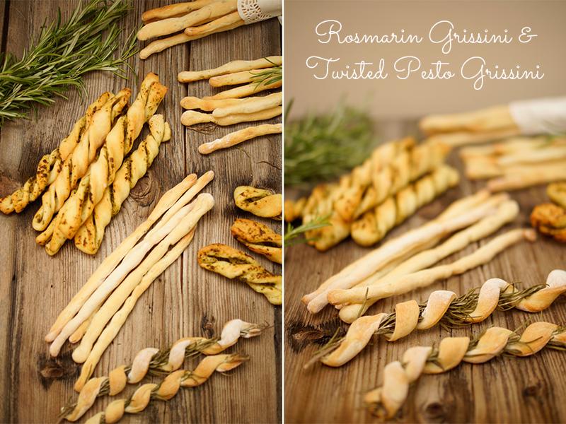 Grissini selber machen: Rosmarin und Pesto