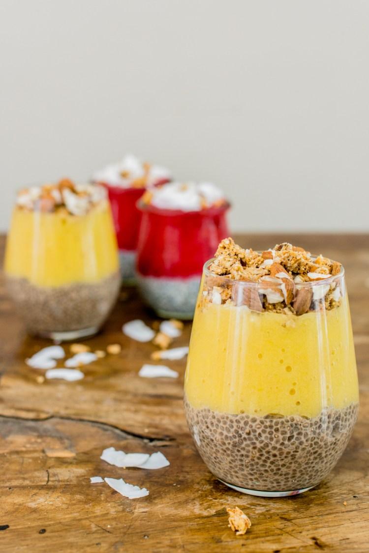 Mango Bananen Chia-Pudding mit Mandeln-5