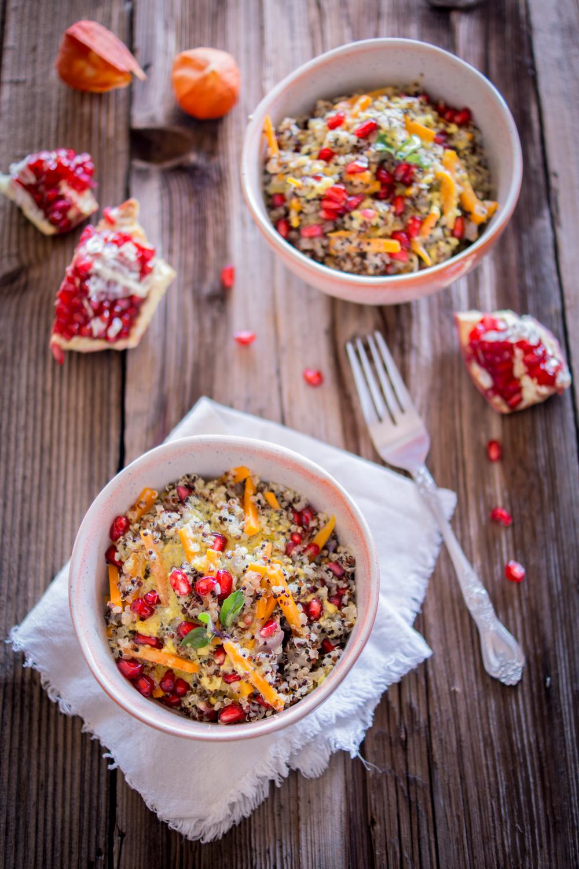 Herbstliche Quinoa Bowl mit Zitronen Senf Dressing