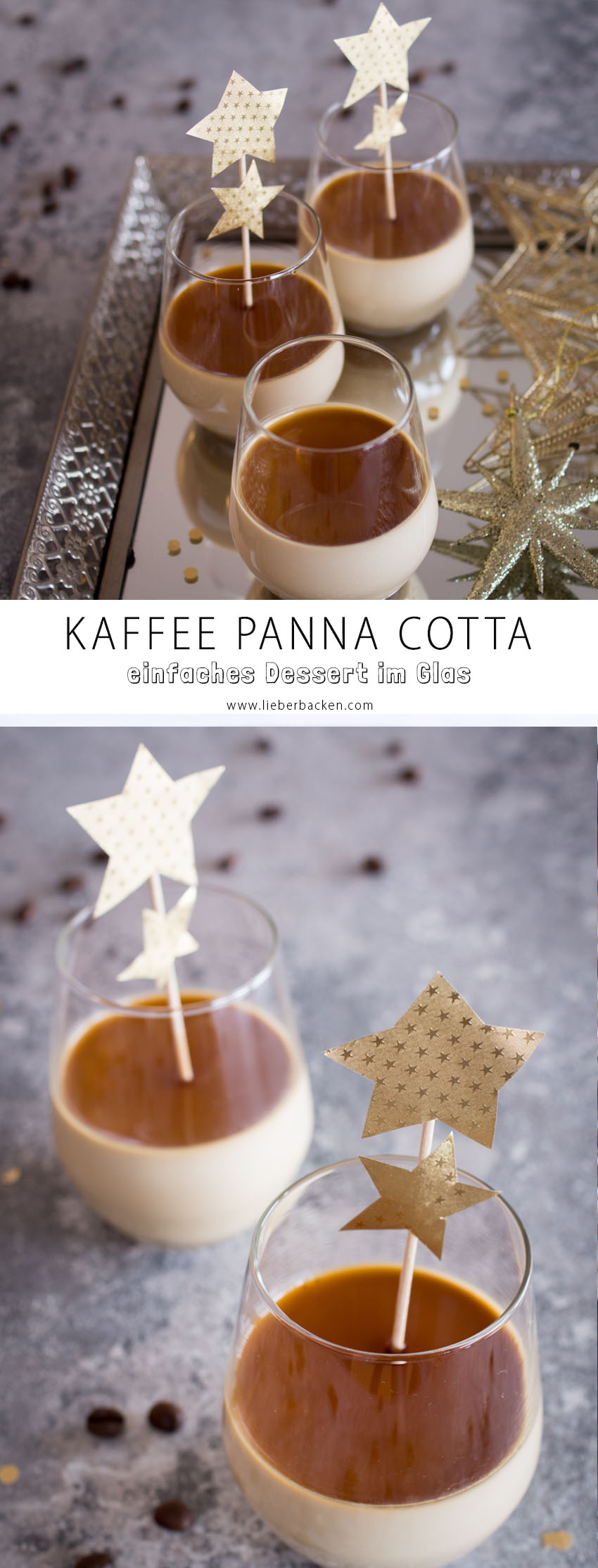 Kaffee Panna Cotta - einfaches Dessert im Glas (perfekt für Weihnachten und Silvester)