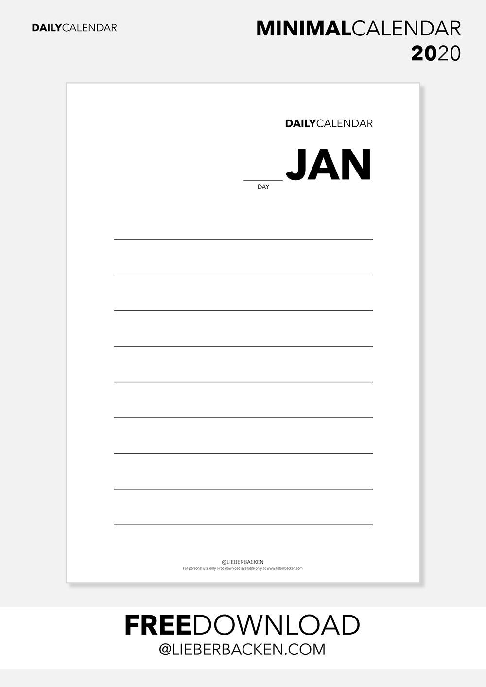 Daily Calender - Free Printable Calender 2020 Bundle | Gratis Download Kalender 2020