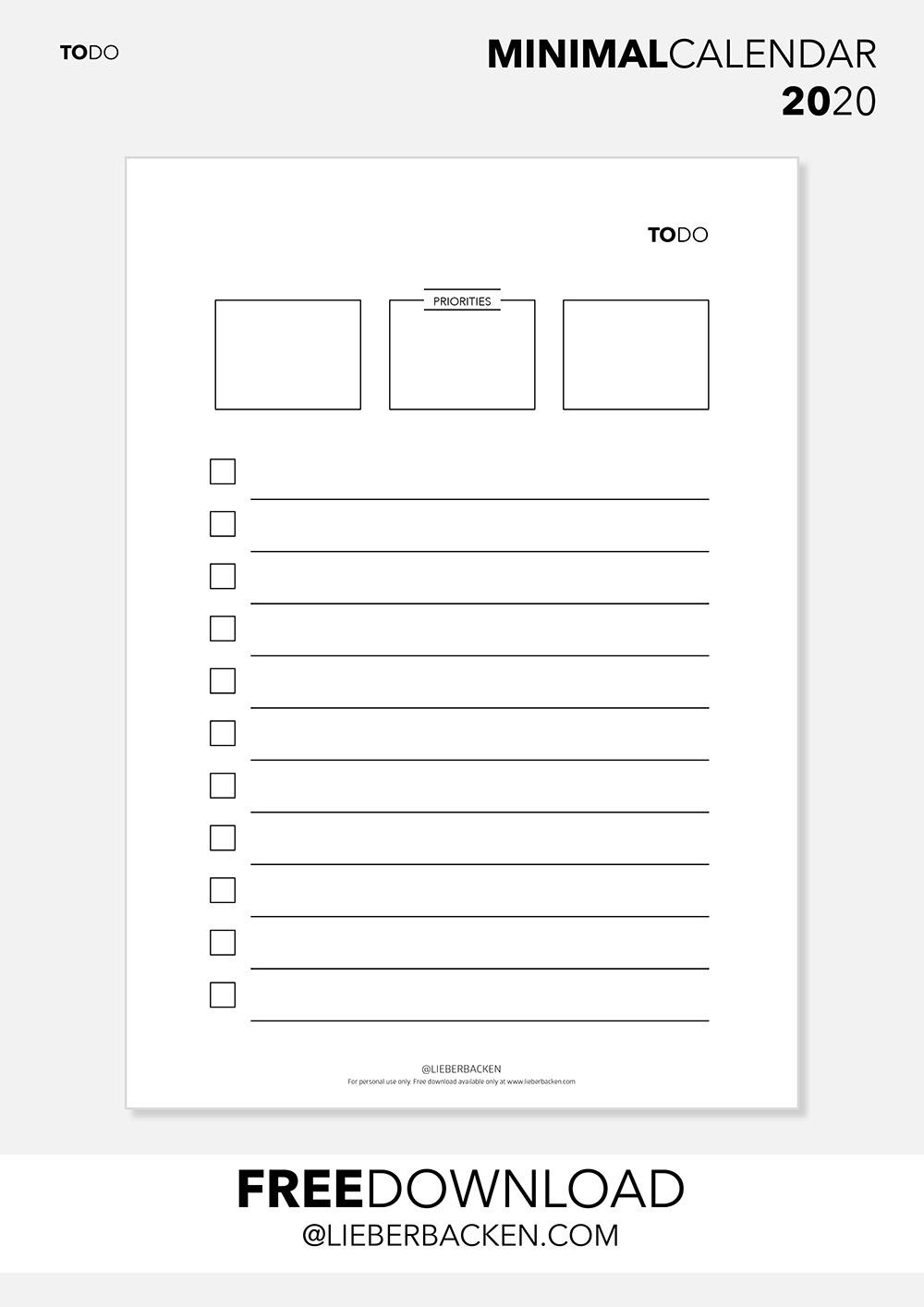TO DO List - Free Printable Calender Bundle | Gratis Download TO DO Liste und kompletter Kalender