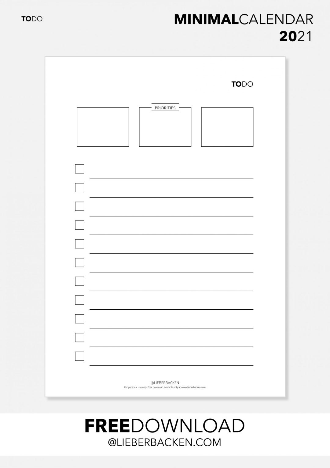 Minimal TO DO List | Free Download | Calendar 2021