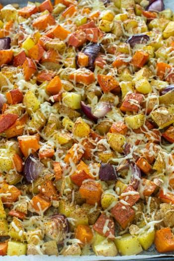 Gerösteter Kürbis mit Kartoffeln vom Blech   Ofengericht