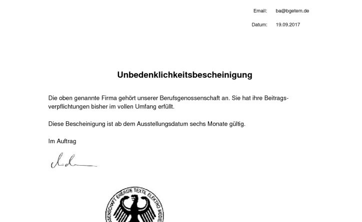 thumbnail of Unbedenklichkeitscheinigung BG ETEM Liefner Haustechnik GmbH
