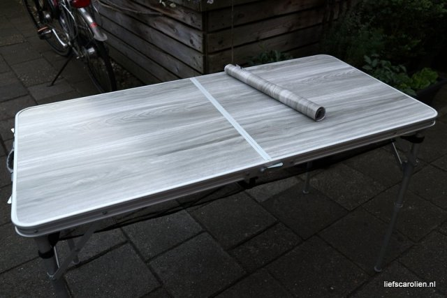 campingtafel, plakplastic van action, diy