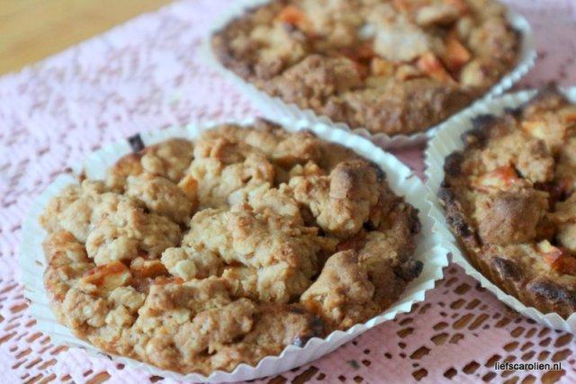 Havermout appelkruimel taartjes