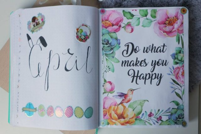 bullet journal, plan with me april 2019, begin pagina, april