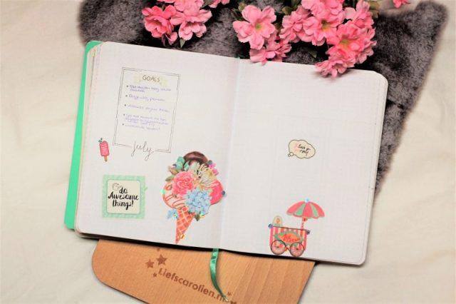 bullet journal juli 2019 ijsjes thema