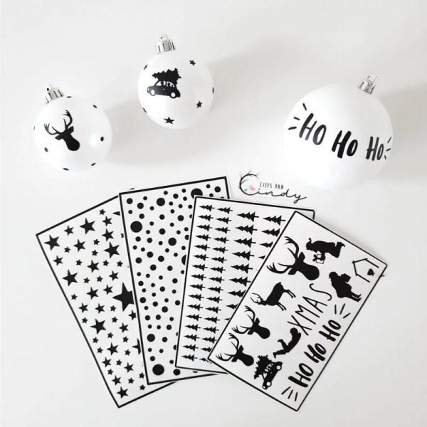 DIY kerstballen zwart wit