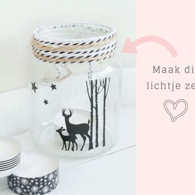 DIY waxinelichtje hertje zwart wit