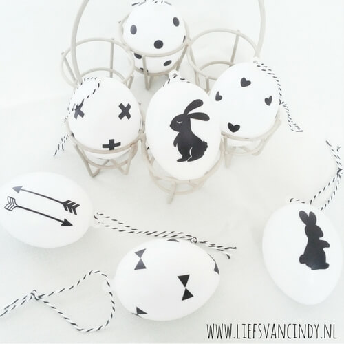 Paas eieren zwart wit DIY