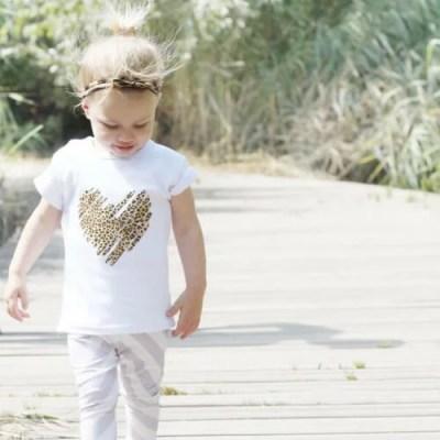 Shirt met tijgerprint hartje baby en kinderkleding
