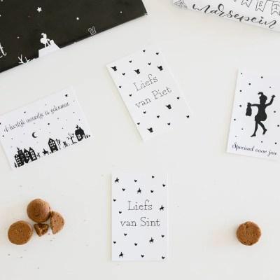 Cadeau kaartjes sint zwart wit