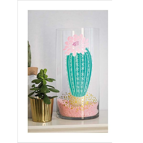 DIY glas tekenen vaas cactus