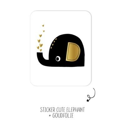 Sticker olifant zwart wit goud