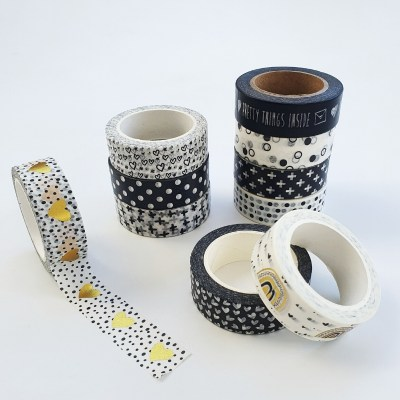 washi tape zwart wit goud