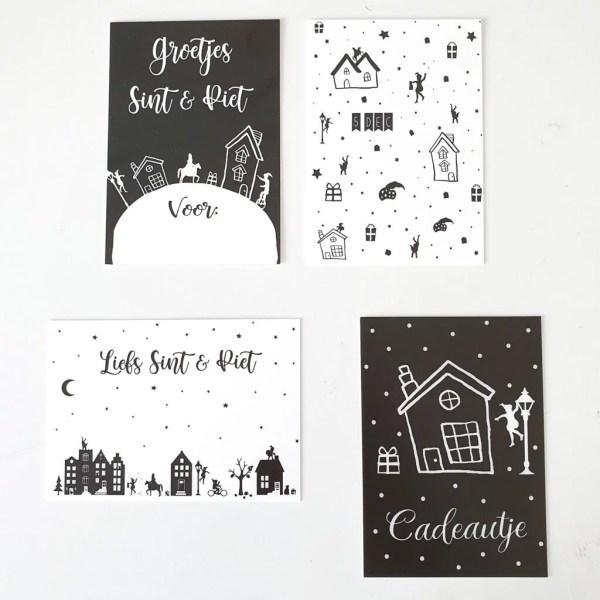Cadeaukaartjes Sint zwart wit