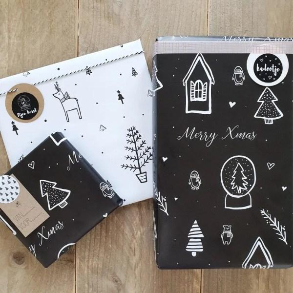 Kerst inpakpapier zwart wit hip