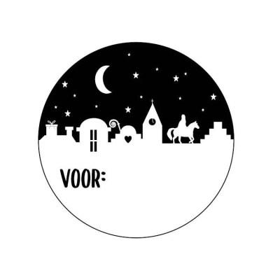 Sticker naam Sinterklaas zwart wit rond