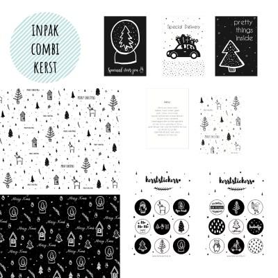 Inpakcombi kerst zwart wit