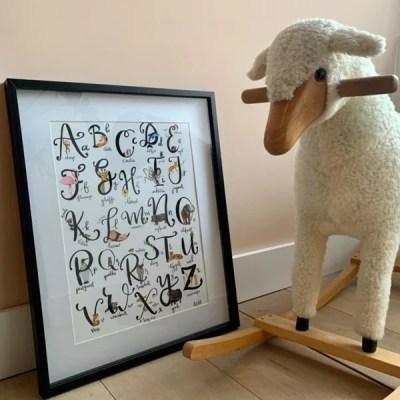 Alfabet dierenposter kraamcadeau