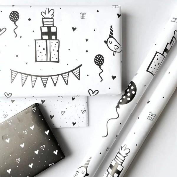 cadeau inpakpapier zwart wit hip