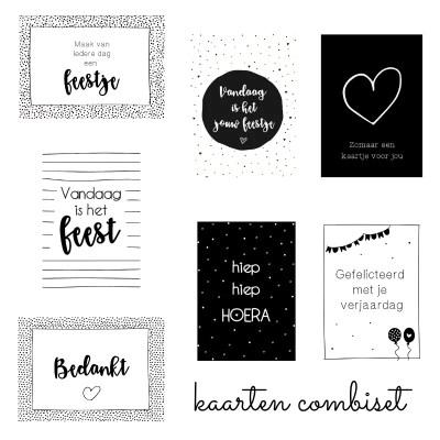 kaarten set zwart wit