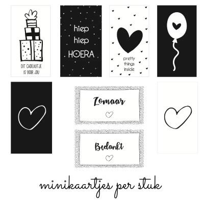 Mini kaartjes zwart wit