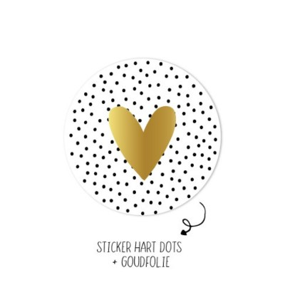 sticker rond zwart wit stippen gouden hart
