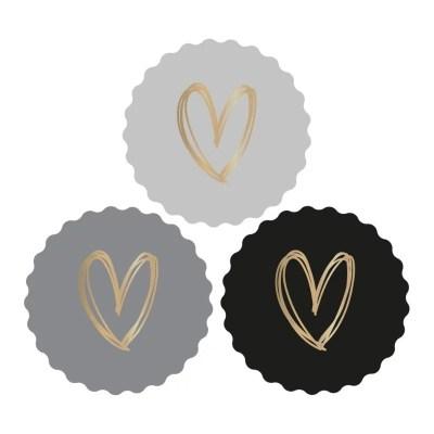 Luxe sluitstickers met gouden hart