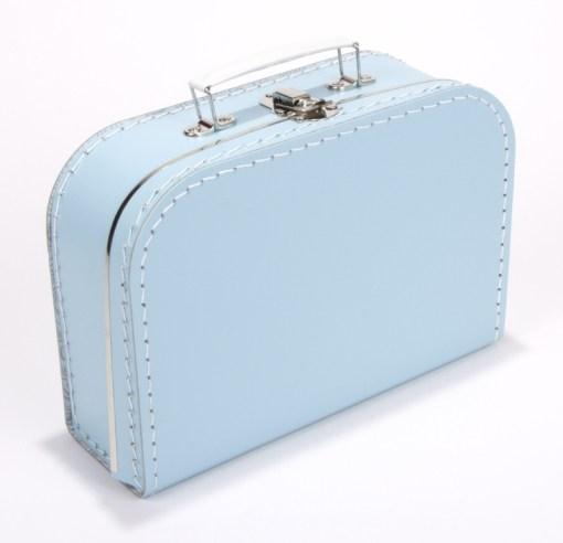Kinderkoffertje licht blauw, met bedrukking