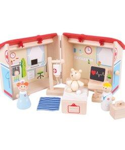 Draagbaar ziekenhuis, bigjigs, houten speelgoed, liefsvanlauren.nl