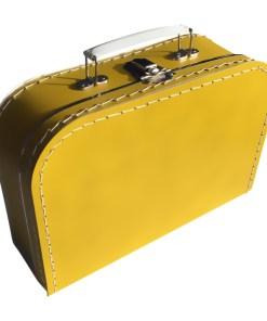 Kinderkoffertje oker geel, met bedrukking, Liefs van Lauren