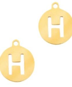 Letterbedel, zilver, goud, Letter kraal, gepersonaliseerde sieraden, Stainless Steel RVS, liefsvanlauren.nl