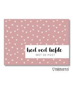 heel veel liefde met de post, kaart, ansichtkaart, miekinvorm, liefsvanlauren.nl