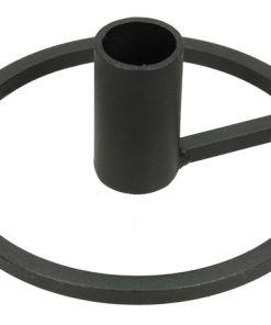 Kandelaar zwart metaal rond, zwarte kandelaar, liefsvanlauren.nl