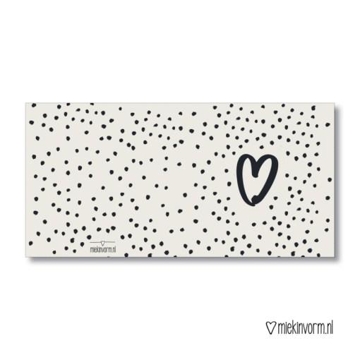 Hart en stipjes, dubbele kaart, miekinvorm, brievenbuspost, liefsvanlauren.nl