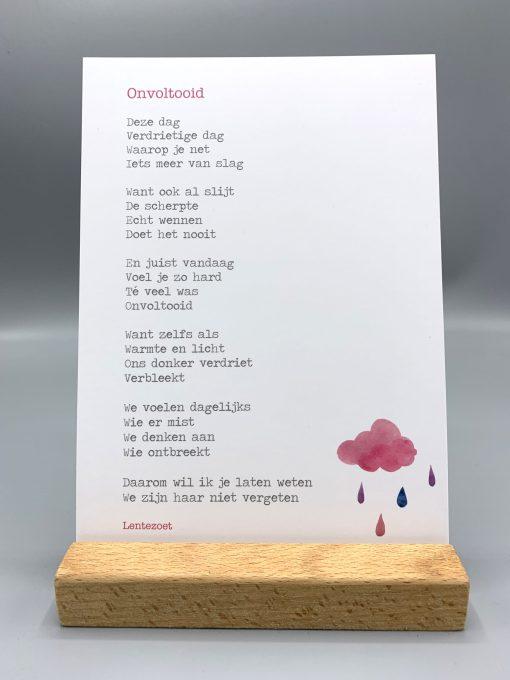 gedicht onvoltooid haar, onvoltooid vrouw, gedicht over gemis en verdriet, rouw, lentezoet, liefsvanlauren.nl